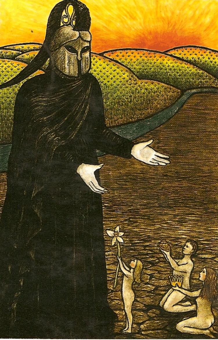 Carta da Morte, do Tarot Mitológico, onde podemos ver Hades - com seu Elmo da Invisibilidade - de mãos abertas recebendo as oferendas das pessoas. A morte é o único ciclo permanente, de onde podemos tirar diversas lições tão necessárias para a vida.