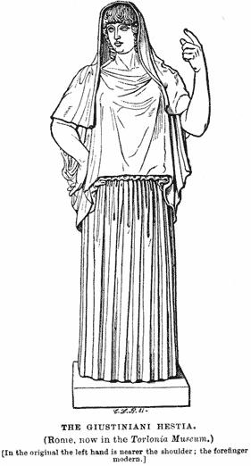 Héstia, Imagem: O. Seyffert, Dictionary of Classical Antiquities, Londen, 1894, p. 292.