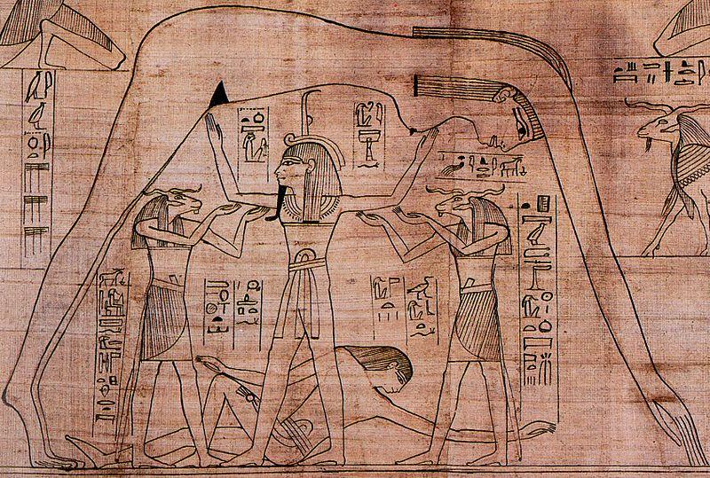 Representação do céu. Na imagem está Nut sobre todos, Geb deitado e Shu sustentando Nut. Imagem do livro dos mortos de Nesitanebtashru. Encontra-se atualmente no Museu Britânico. Pequenos Ritos Pequenos Ritos Pequenos Ritos Pequenos Ritos