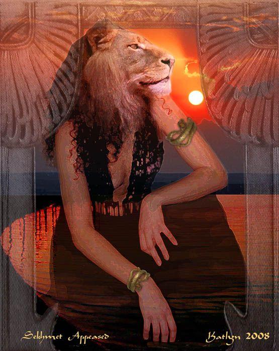 Sekhmet tranquila, por Katlyn 2008. - A Leoa Escarlate