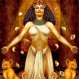 A deusa Bast. Imagem do Oráculo da Deusa de Doreen Virtue.