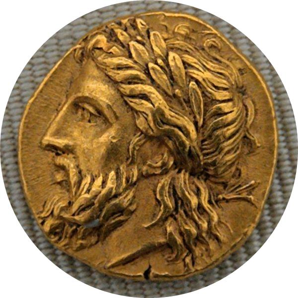 Zeus: Moeda gravada com a Cabeça com coroa de louros, num stater de ouro. Lâmpsaco, c. 360-340 a.C., Cabinet des Médailles.